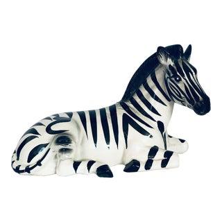Vintage Zebra Ceramic Figure Statue For Sale