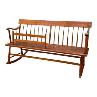 Early American Handcrafted Rocking Bench - Circa 1840 For Sale