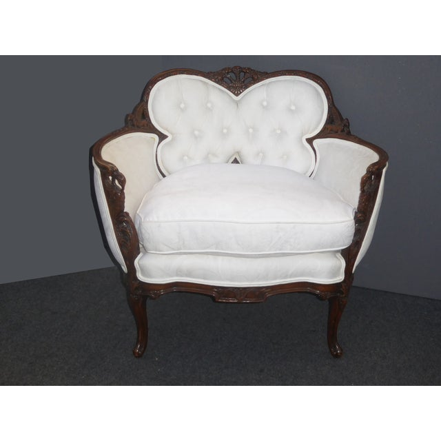 White French Rococo ornate carved wood chair. Gorgeous chair in great vintage condition. Down Feather. Solid and Firm....