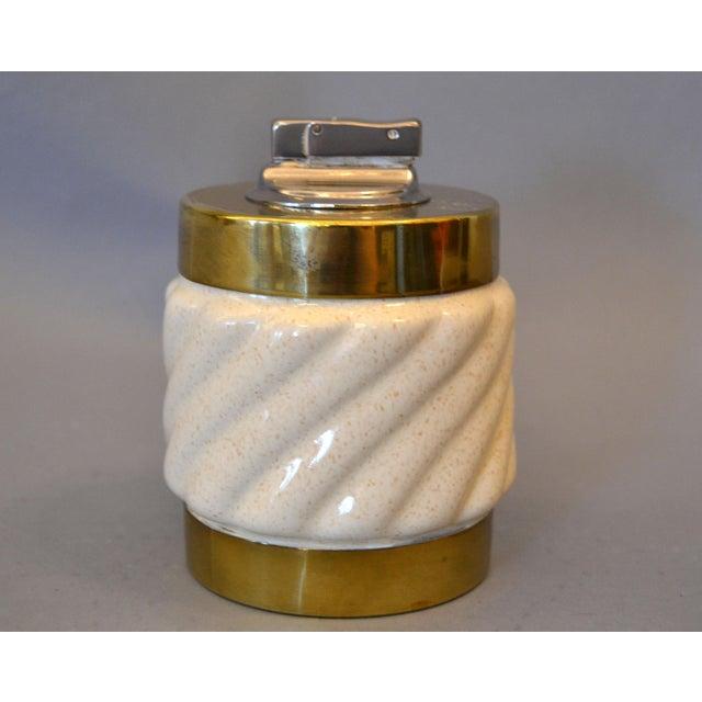 Art Deco Mid-Century Modern Tommaso Barbi Beige Ceramic & Brass Lighter Italy, Signed For Sale - Image 3 of 11