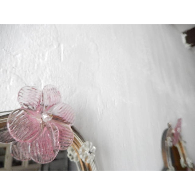 Huge Maison Baguès Style Mirror with Pink Murano Flowers Sconces For Sale - Image 4 of 9
