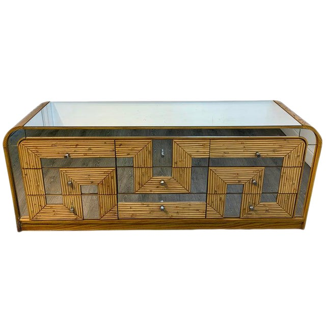 Fabulous Midcentury Mirror Inlaid Segmented Bamboo Dresser or Credenza For Sale