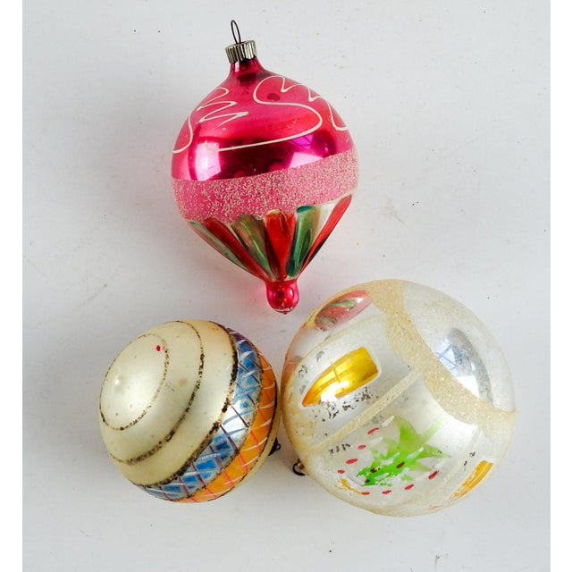 Large Christmas Ornaments.Hand Blown Large Christmas Ornaments Set Of 3