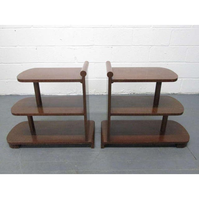 Pair Art Deco Walnut Streamline End Tables