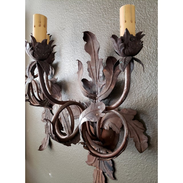 Vintage 1960s French Large Floral Sconces - a Pair For Sale - Image 4 of 13
