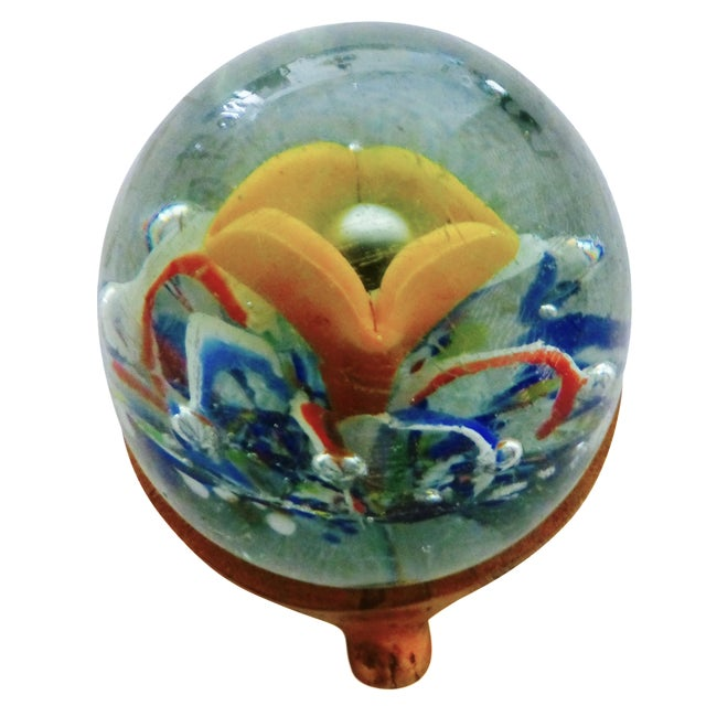 Handblown Glass Paperweight with Stand - Image 1 of 6