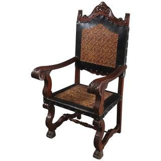 Arm Chair Renaissance Castle Lions Embossed For Sale