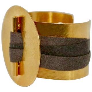Herve Van Der Straeten Gilded Brass and Ribbon Cuff For Sale