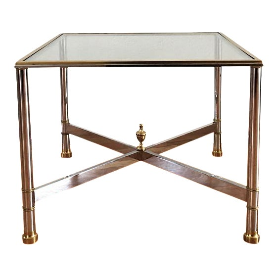 La Barge Brass Chrome & Glass Side Table - Image 1 of 6