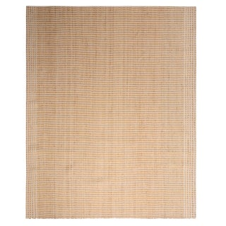 Geometric Cream Beige and Yellow Hemp Cotton Flat Weave Rug by Rug & Kilim For Sale
