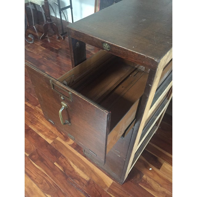 Antique Pacific Desk Co. Wooden File Cabinet - Image 4 of 6