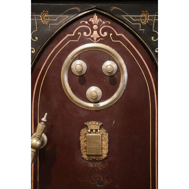 Gothic 19th Century Spanish Hand Painted Iron Safe With Keys and Locking Combination For Sale - Image 3 of 11