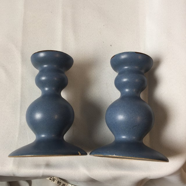 Dansk Curvy Ceramic Candlestick Holders- A Pair - Image 7 of 10