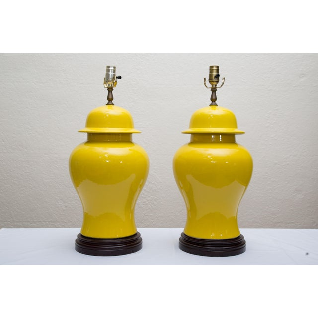 Pair of Yellow Asian Lidded Vases as Lamps - Image 6 of 6