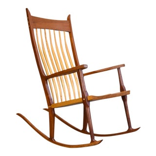 Extraordinary Bench-Made Cherry Rocking Chair, Sam Maloof Style For Sale