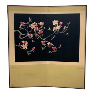 Asian Cherry Blossom Embroidery Folding Screen Room Divider For Sale