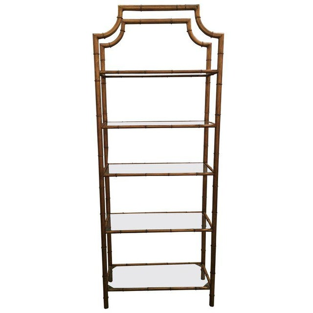 Exceptional Pagoda Faux Bamboo Metal & Glass Shelves Etagere | DECASO