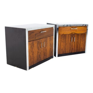 Milo Baughman for John Stuart Mid Century Rosewood and Chrome Nightstands - a Pair For Sale