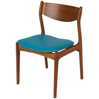 1960s Danish Modern Teak Side Chair With Teal Upholstery For Sale