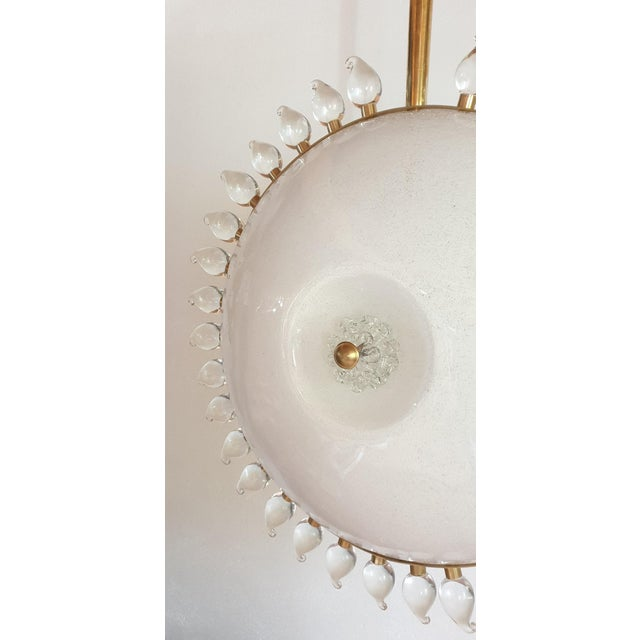 Large Mid-Century Modern Sunflower Murano Glass & Brass Chandelier, Cenedese For Sale - Image 9 of 12