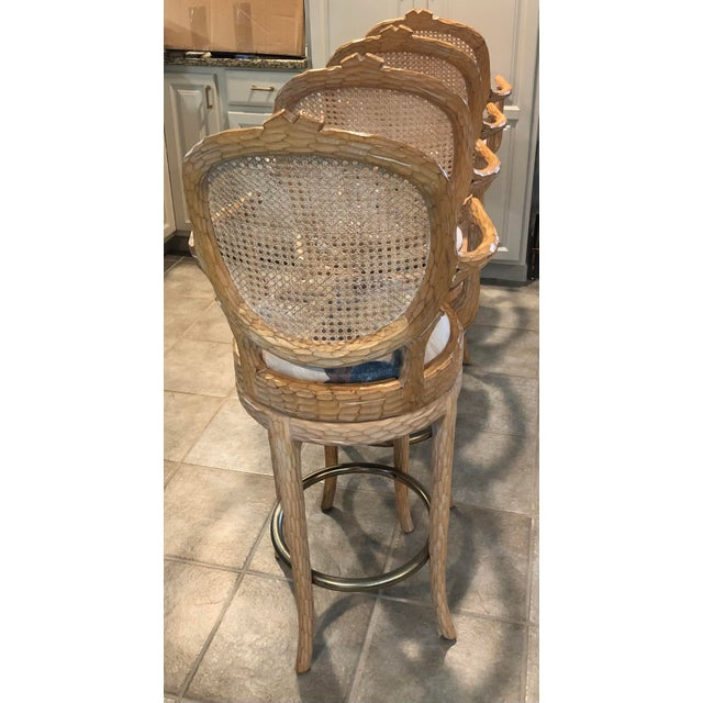 Vintage Faux Bois Cane Back Whitewash Natural Wood Stools With Arms and Brass Footrests - Set of 4 For Sale - Image 9 of 11