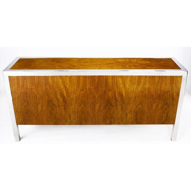 1970s Pace Collection Koa Wood and Polished Steel Cabinet For Sale - Image 5 of 9