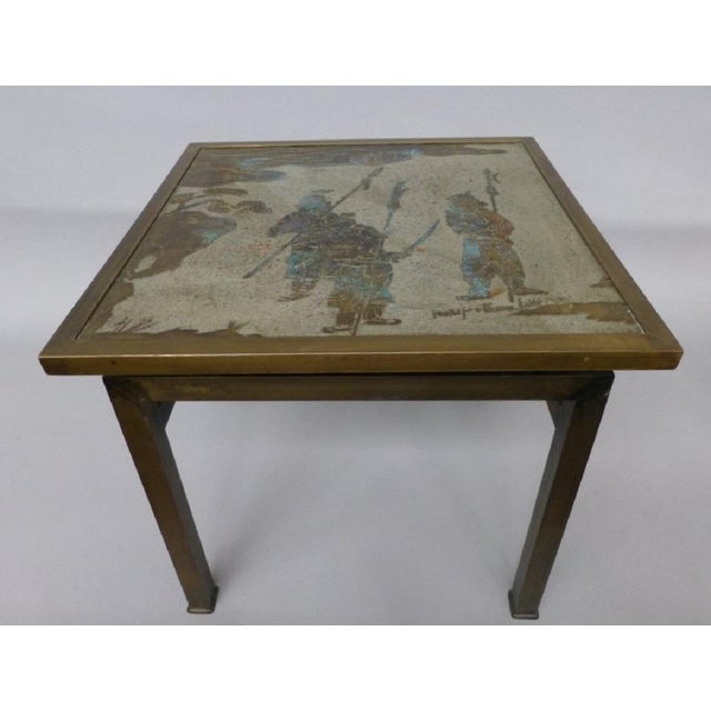 Signed, Phillip & Kelvin LaVerne etched bronze side table with an Asian themed top.