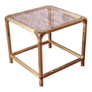 Mastercraft Hollywood Regency Brass and Glass Side Table For Sale