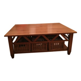 Solid Wood Ethan Allen Coffee Table For Sale