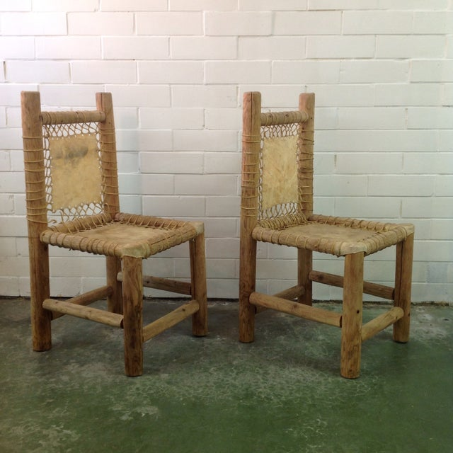 Rustic Vintage Handmade Lodgepole & Rawhide Chairs - Pair For Sale - Image 3 of 6