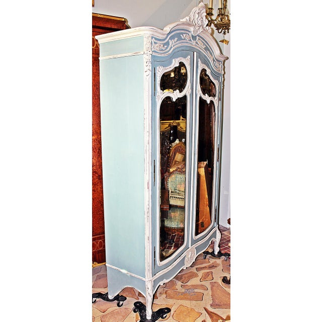 19th Century French Country Painted Armoire For Sale - Image 4 of 13