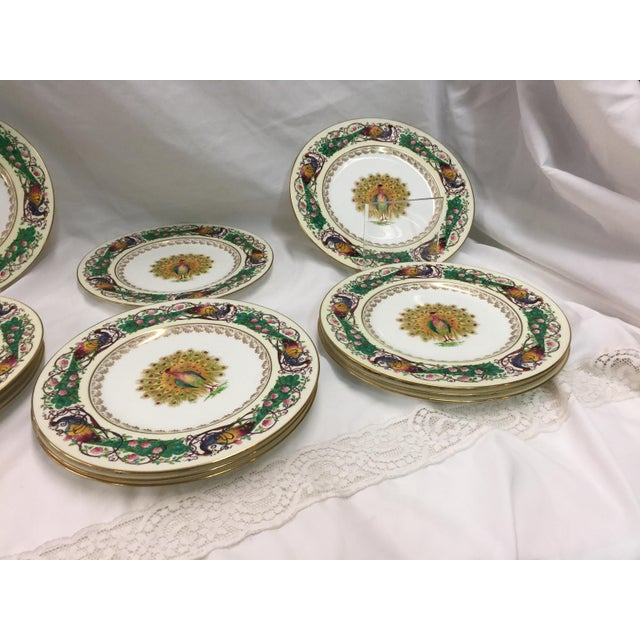 Art Deco 12 Wedgwood Peacock Plates Handpainted For Sale - Image 3 of 11