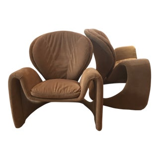 1980s Vintage Sculptural Italian Lounge Chairs- A Pair For Sale
