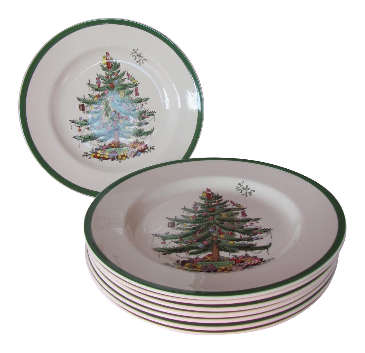 Spode Christmas Tree Dinner Plates Set Of 8 Chairish