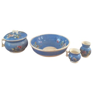 Chinoiserie Floral Bowl, Terrine, and Vase Set For Sale