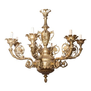 French Louis XVI Style Bronze Eight-Light Chandelier For Sale