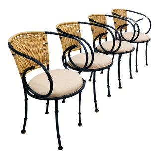 Vintage Metal & Wicker Bistro Chairs For Sale