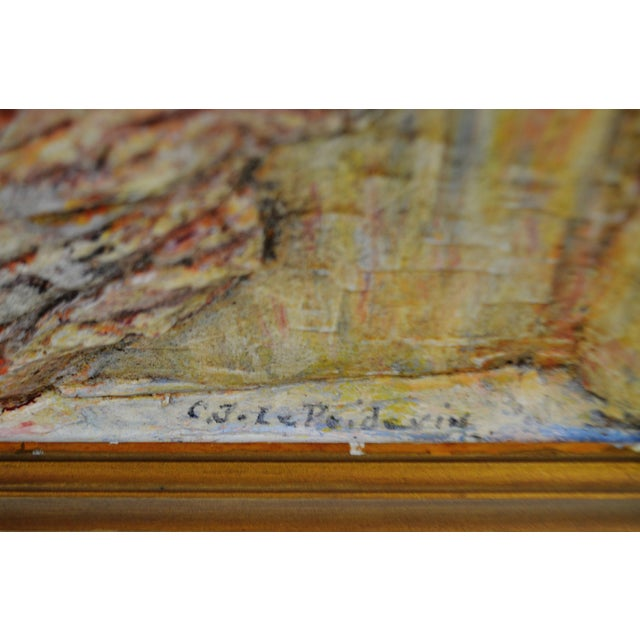 Vintage Folk Art Bas Relief Wood Carving of Man Fishing by C.J. Le Poidevin For Sale - Image 9 of 11