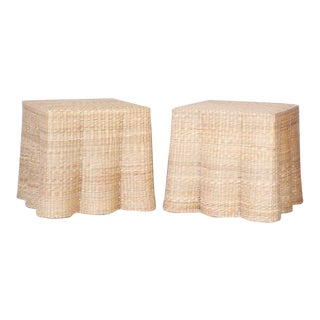 Trompe-L'œil Wicker Drapery Ghost End Tables - a Pair For Sale