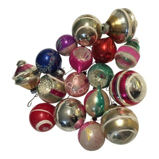 1960s Mid Century Modern Christmas Ornaments - Set of 17 For Sale