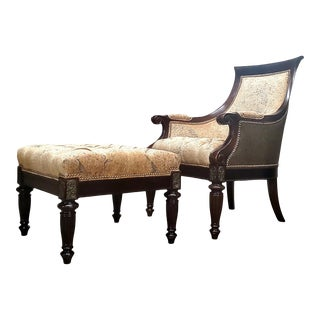Thomasville Ernest Hemingway Anson Tufted & Leather Accent Chair With Ottoman Set For Sale