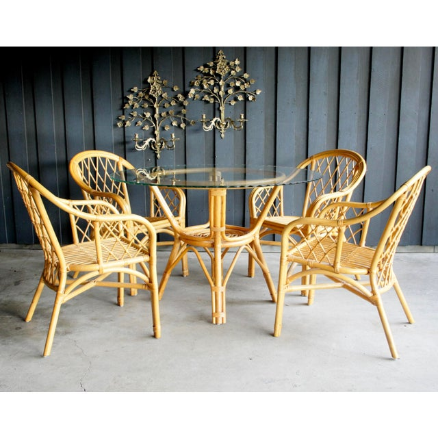 Americana Boho Chic Diamond Pattern Rattan Dining Set With 4 Armchairs, Set of 5 For Sale - Image 3 of 13