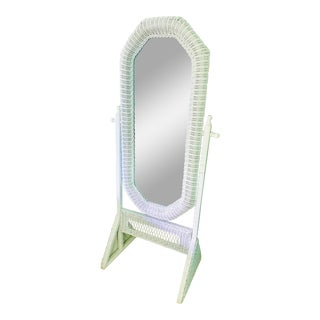 Vintage White Wicker Free Standing Mirror For Sale
