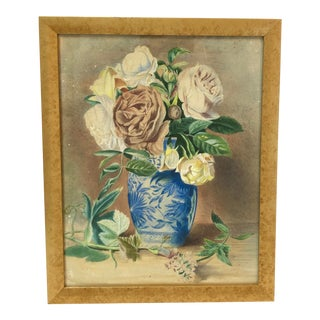 1983 Framed Still Life Vase Roses Watercolor Painting For Sale