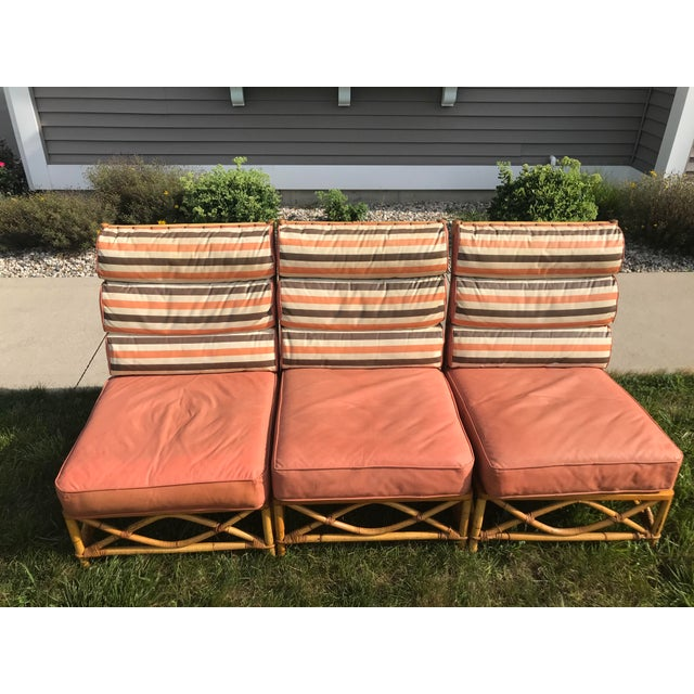 Ficks Reed Vintage Mid Century Ficks Reed Patio Outdoor Bentwood Bamboo Sofa, 3 Pieces For Sale - Image 4 of 11