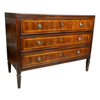 Italian Neoclassic Walnut and Inlaid Commode For Sale