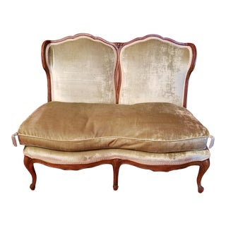 Vintage French Provincial Louis XV Settee Velvet Down Seat For Sale
