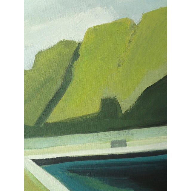 """Abstract Landscape Poolside Painting - 30"""" x 40"""" - Image 5 of 5"""