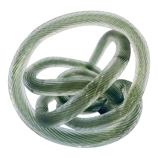 Zanetti Style Italian Sage Green Murano Glass Knot For Sale