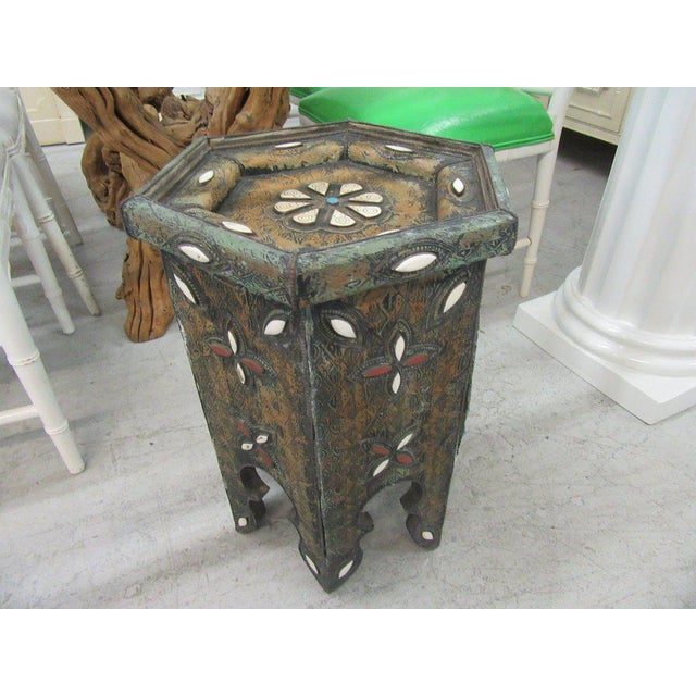 Tin & Gemstone Moroccan Occasional Table - Image 2 of 7